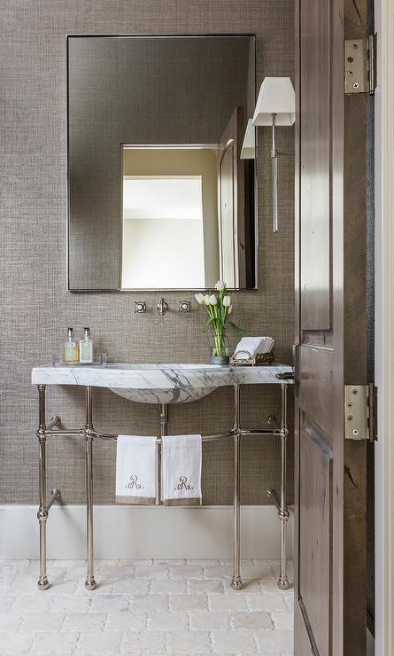 Vintage Wooden Bathroom Mirror