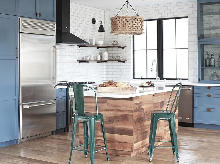Plank Center Island With Hunter Green Tolix Stools Contemporary