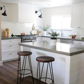 White Shiplap Island With Gray Quartz Countertop