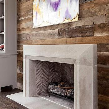 Plank Wall With Concrete Fireplace Mantel