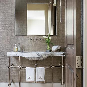 Gray Grasscloth Wall With Marble Washstand