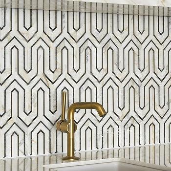 black and white geometric wet bar backsplash tiles