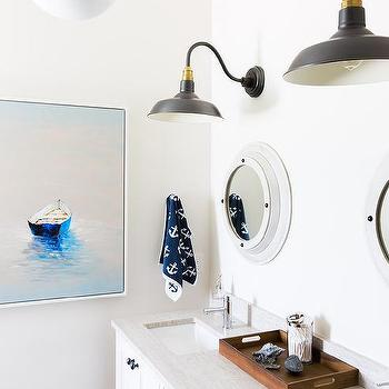 Alyssa Rosenheck: Nautical Boys Bathroom With White Porthole Mirrors