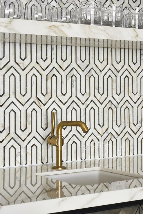 Black and White Geometric Wet Bar Backsplash Tiles - Contemporary ...