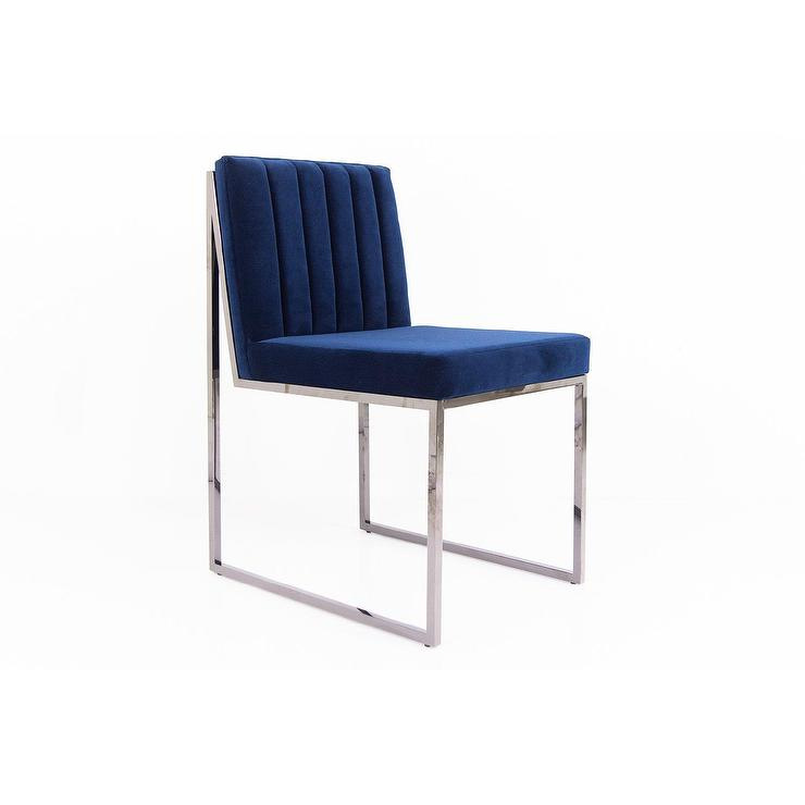 parsons blue velvet chanel tufted chair