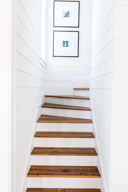Alyssa Rosenheck   Chad James Group  Flanked By White Shiplap Walls Painted  In Sherwin Williams Ceiling Bright White, A White Staircase Is Finished  With ...