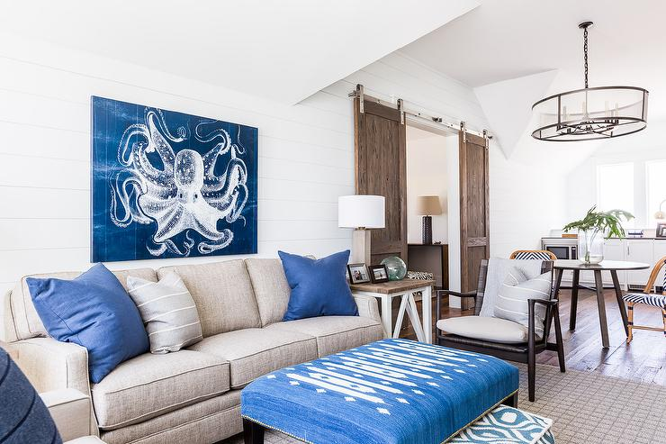 Alyssa Rosenheck   Chad James Group   Taupe And Blue Cottage Living Room  Features A Blue Octopus Art Piece Mounted On A White Shiplap Wall Painted  Sherwin ... Part 88