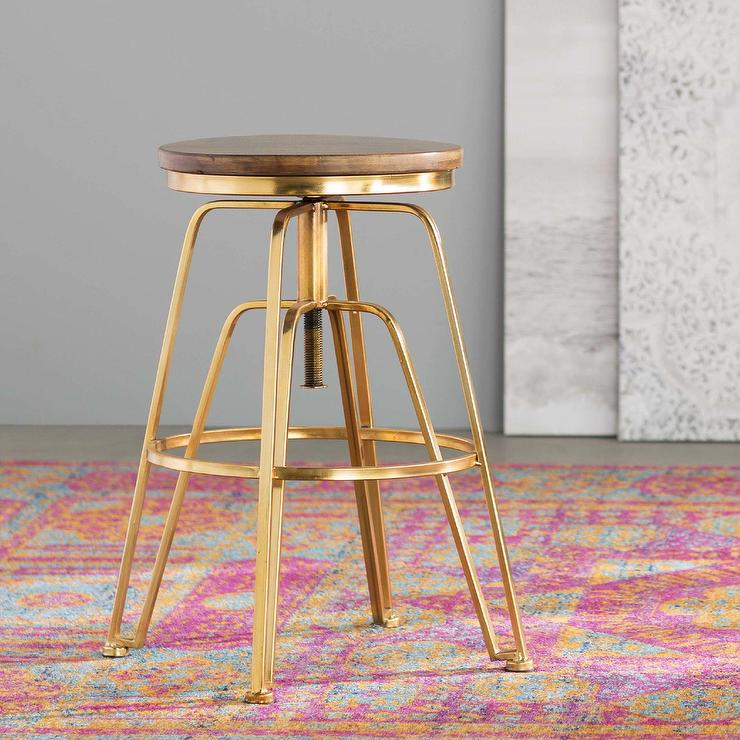 Zosia Adjustable Height Gold Bar Stool