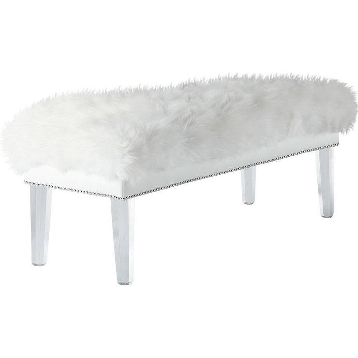 White Fur Acrylic Bedroom Bench