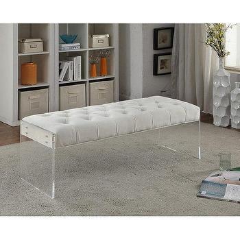orchard white velvet tufted acrylic bench - Acrylic Bench