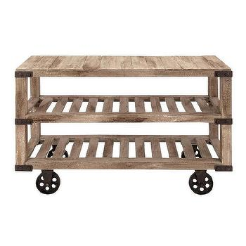 Four Shelf Wooden Gavin Rolling Cart