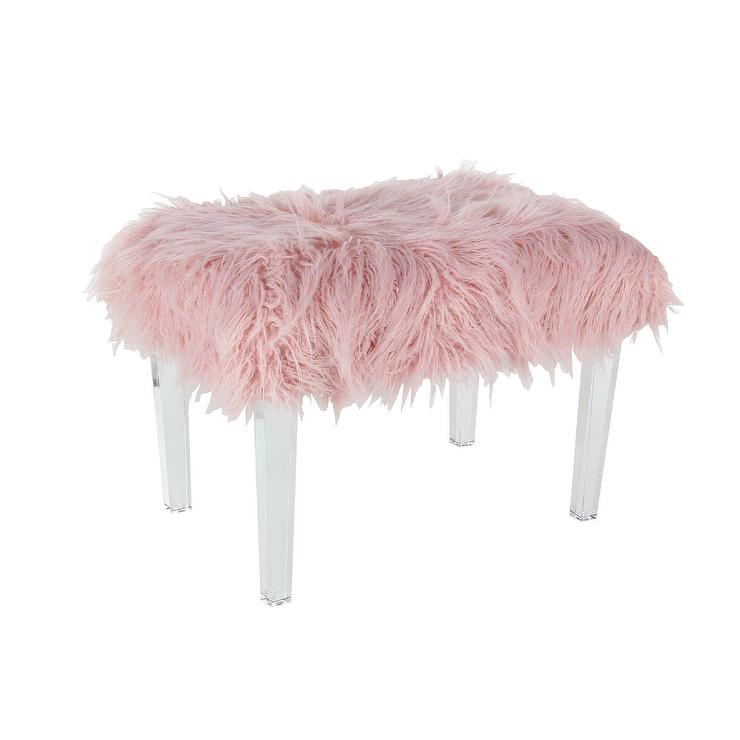 Square Blush Fur Wood Stool Pinup Pink Faux Fur Stool