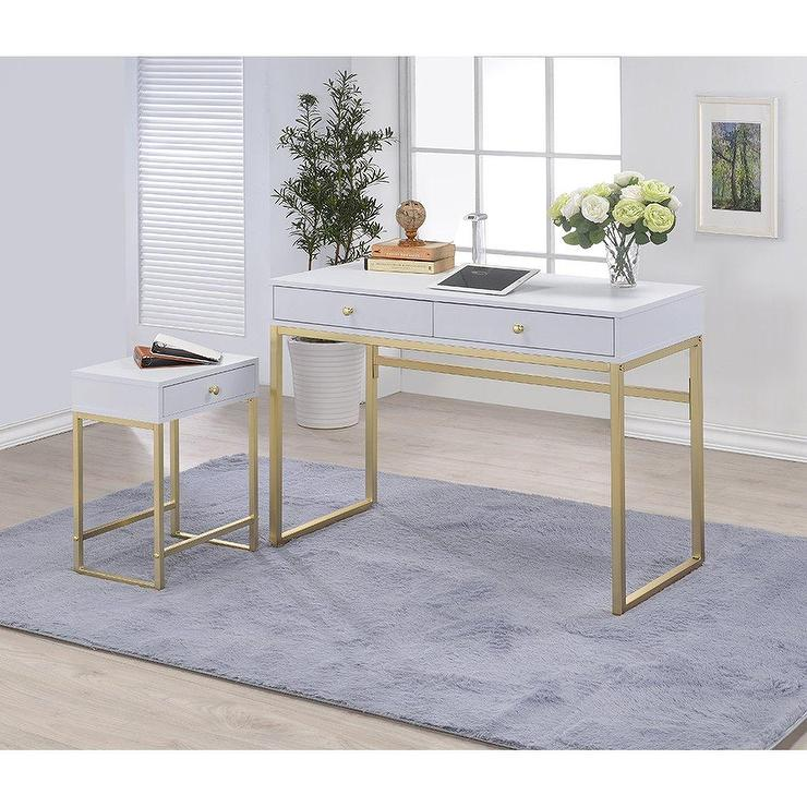 Coleen White Gold Accent Writing Desk
