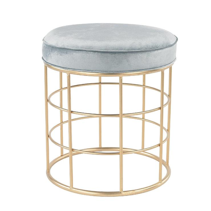 Worlds Away Melanie Black Velvet And Brass Stool