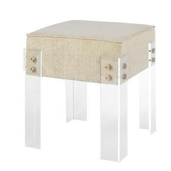 macgraw square cream fabric acrylic stool - Acrylic Bench