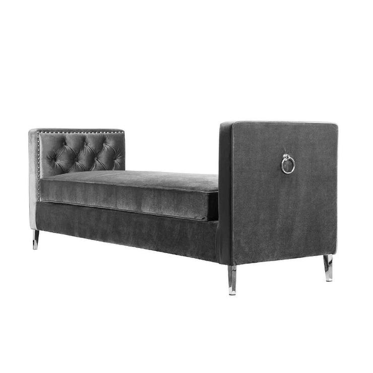 Gray Velvet Tufted Bench