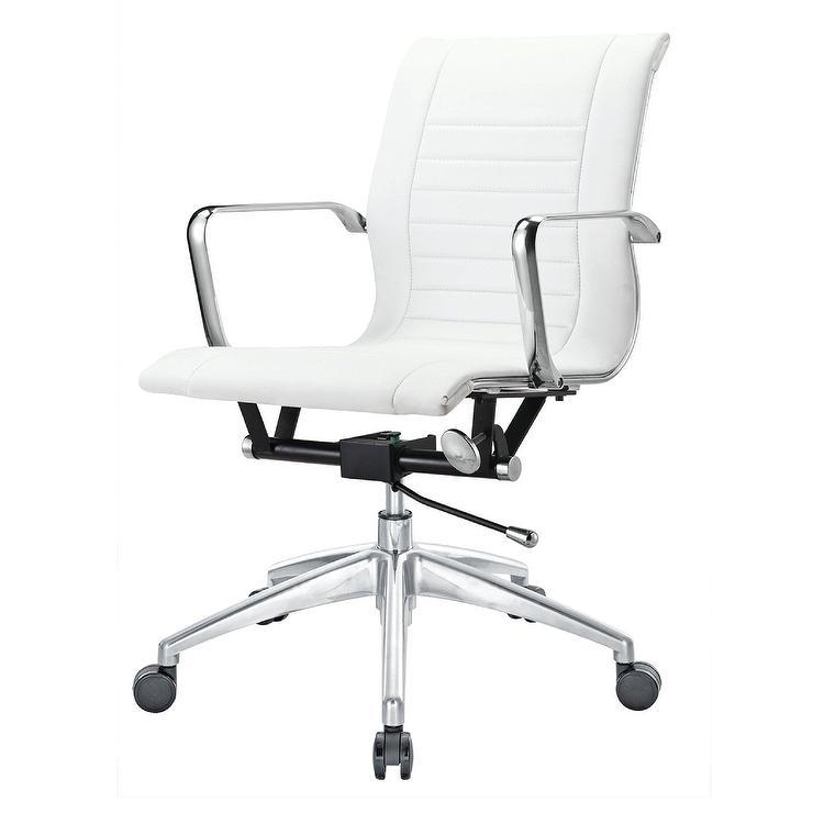 bucharest white leather chrome desk chair