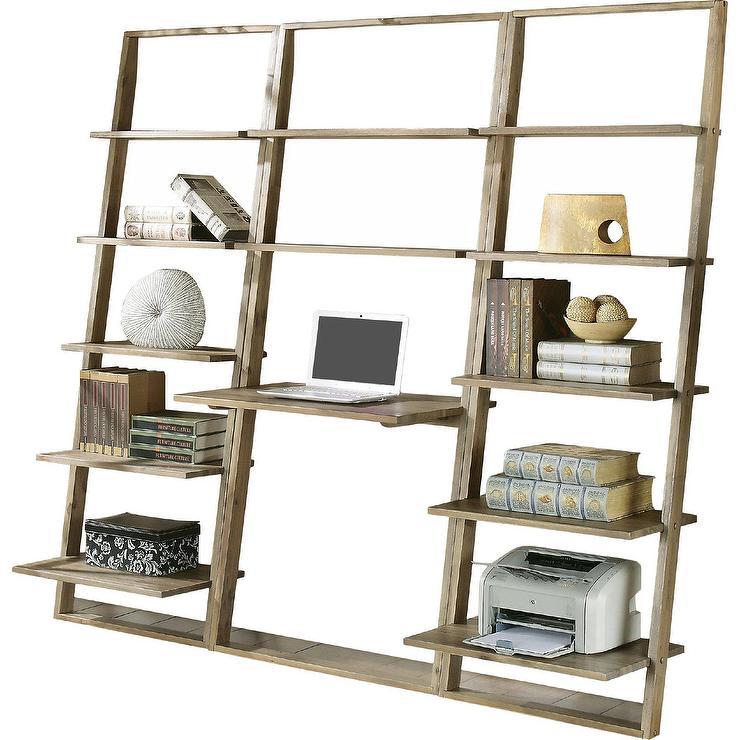 simonetti leaning bookcase wood desk