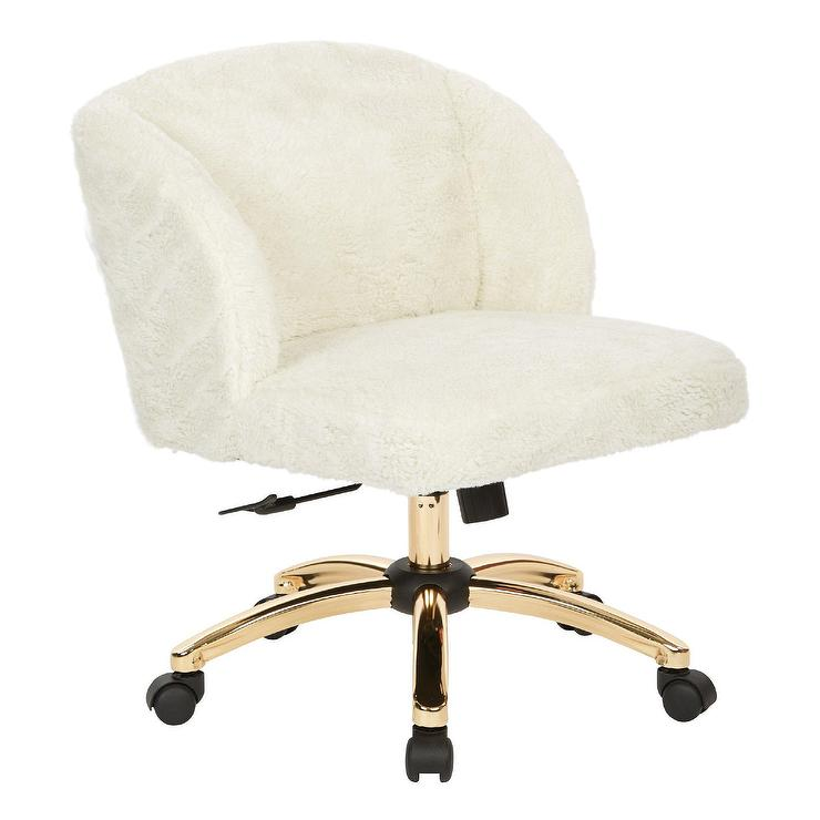 White Leather Aluminum Gold Desk Chair