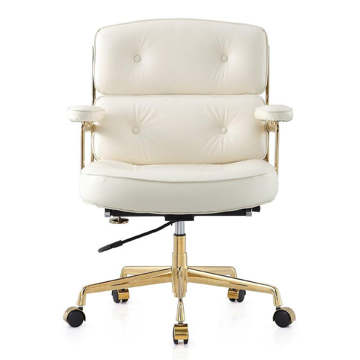 Kell White Leather Tufted Gold Desk Chair