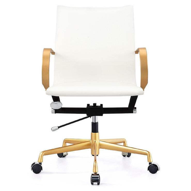 White leather aluminum gold desk chair for Desk chair white leather