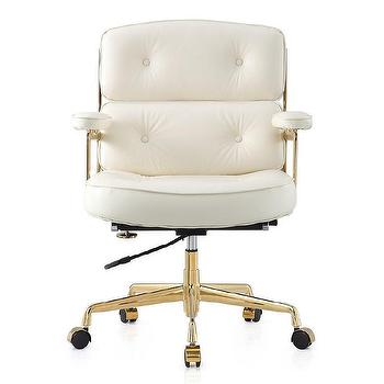 white leather button tufted office chair - Tufted Desk Chair