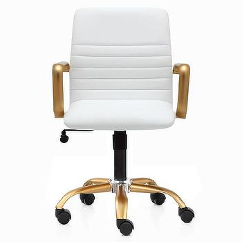 White Leather Button Tufted Office Chair