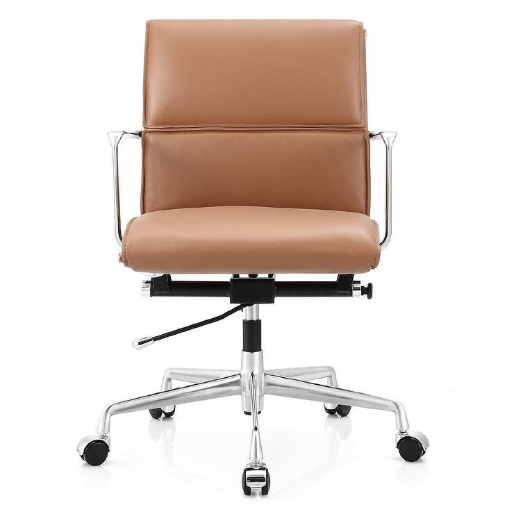 brown leather chrome desk chair