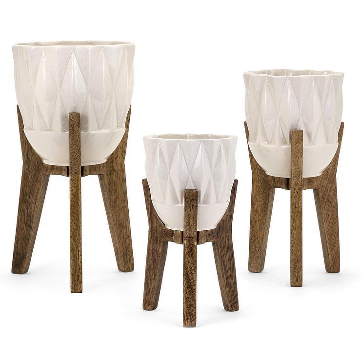 Ceramic Bowls Wood Holders Vase Set