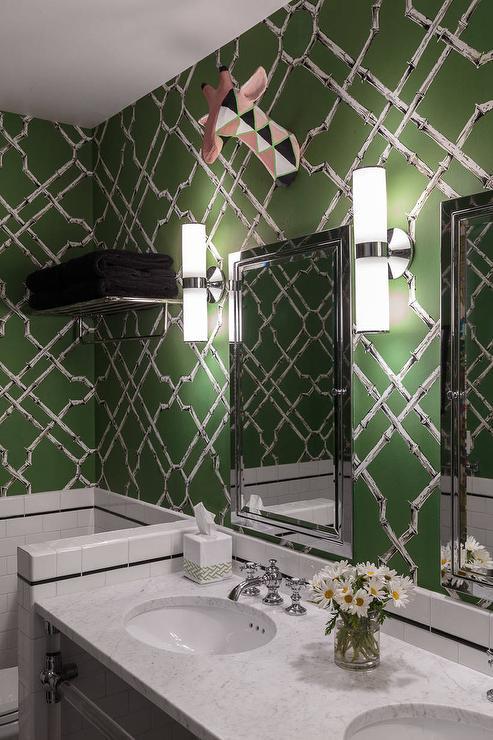 Green Subway Tiles Contemporary Bathroom Sophie Metz