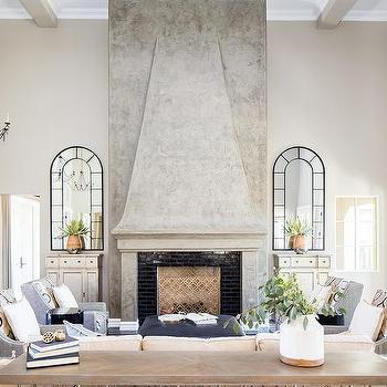 Gray Plaster Fireplace Mantel