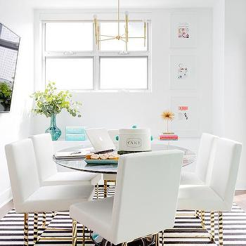 White And Gold Dining Room With Black Striped Rug