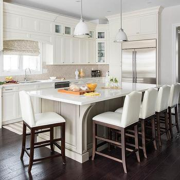 Taupe Kitchen Island With White Camelback Counter Stools