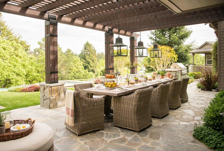 Long Patio Dining Table Under Pergola