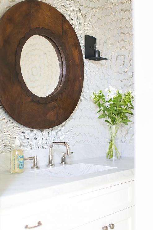 Large Round Wood Mirror With White Washstand