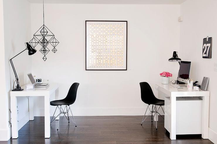 White Lacquered Parsons Desk With Black Chairs