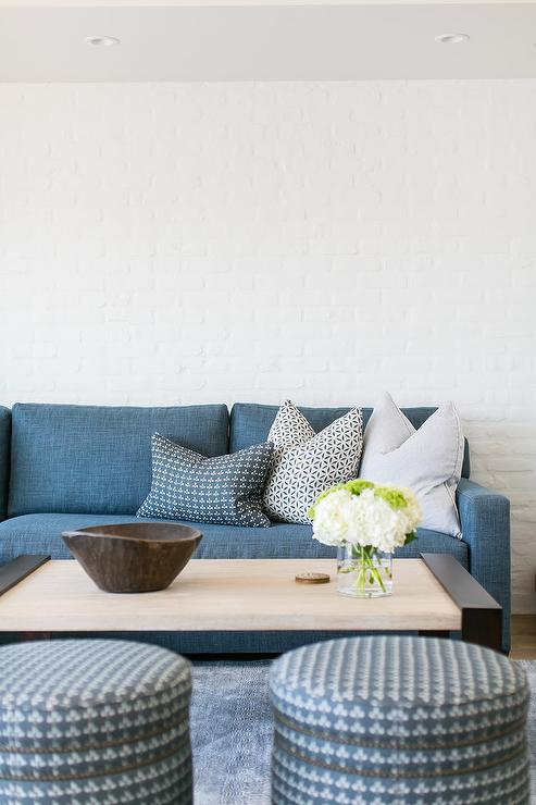 Blue Denim Sofa With Wood And Iron Cocktail Table