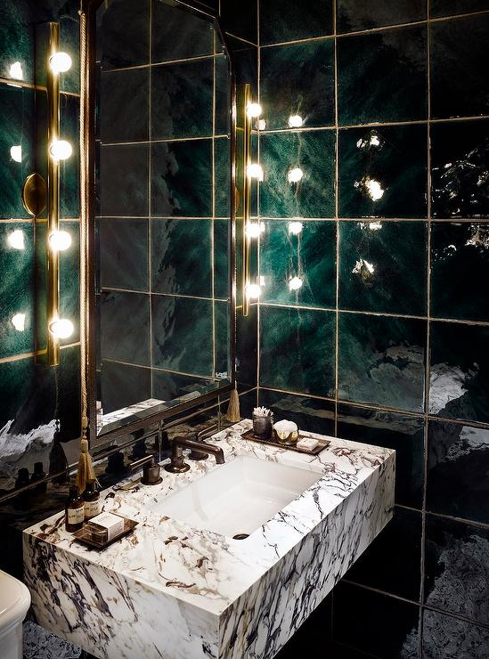 Shimmering Black Grid Bath Wall Tiles Contemporary Bathroom