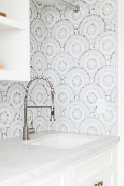 Gray And Blue Mosaic Laundry Room Wall Tiles Design Ideas
