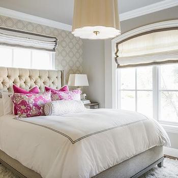 tan and hot pink bedroom bedroom accent wall wallpaper design ideas