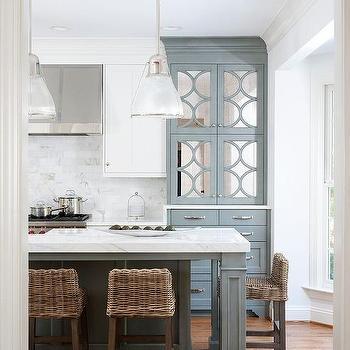 Short Back Wicker Kitchen Counter Stools Design Ideas