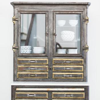 Industrial Metal China Cabinet With Brass Drawer Trim