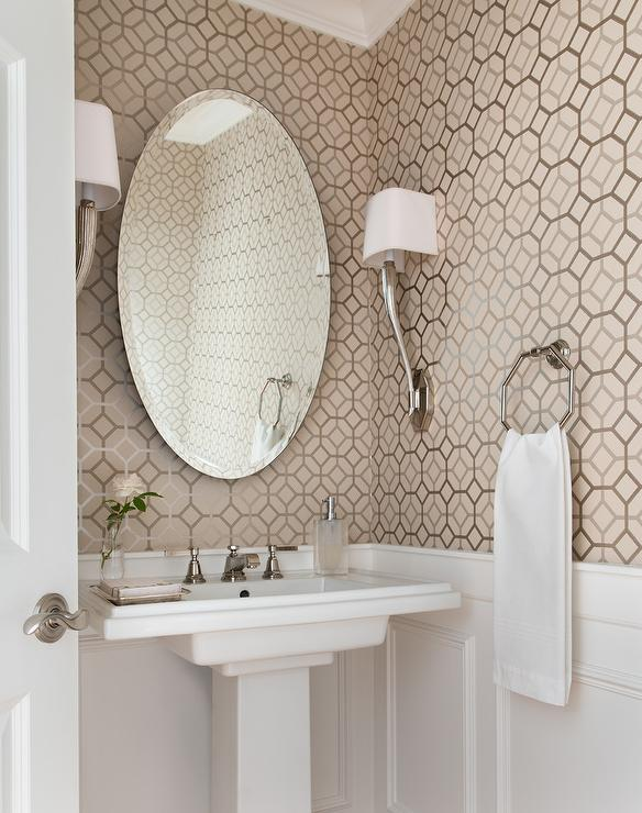 Taupe Powder Room Wallpaper Design Ideas