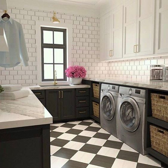 Beautifully Designed White And Black Laundry Room Features A Silver Front  Loading Washer And Dryer Placed On Black And White Harlequin Floor Tiles  And Is ...