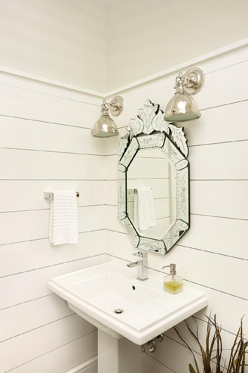 Venetian Mirror In White Shiplap Powder Room Cottage
