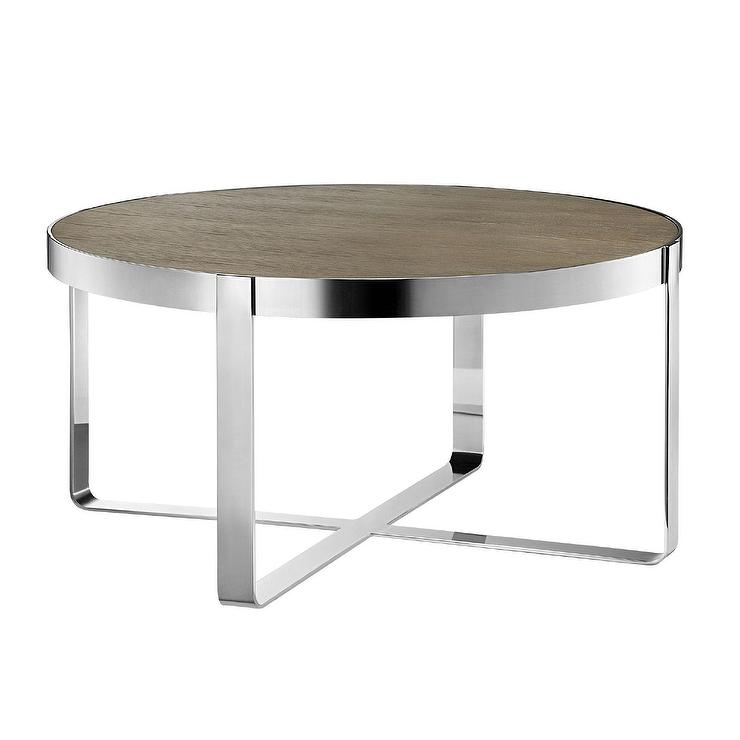 Captivating Madison Park Emily Oak Chrome Coffee Table