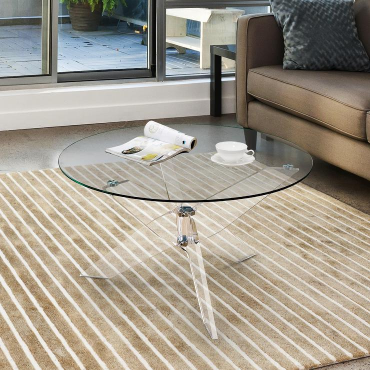 Leras Acrylic Glass Round Coffee Table