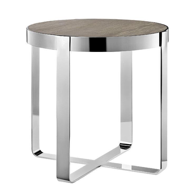 Madison Park Emily Oak Chrome End Table