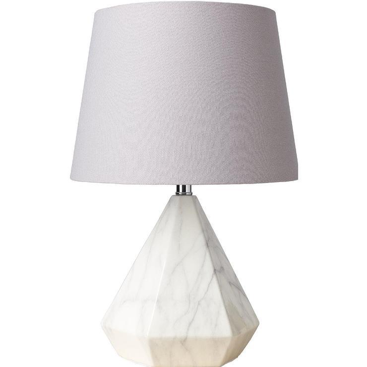 Posh Diamond White Marble Table Lamp