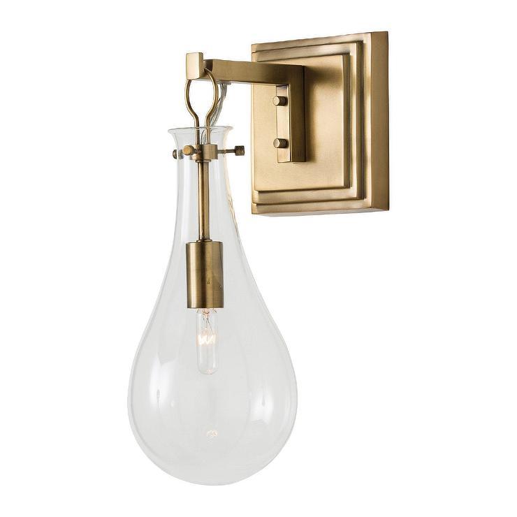 buy popular 2fec6 e4494 Sabine Glass Teardrop Brass Wall Sconce